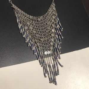 Jewelry - NWT Boho Silver necklace with Blue & Grey Beading
